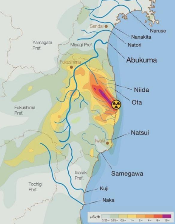 TRANSCEND MEDIA SERVICE Radiation Along Fukushima Rivers Up To - Japan radiation map 2016