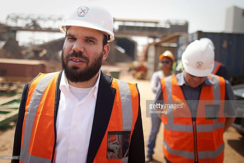 Israeli billionaire Dan Gertler, left, takes a tour of the Katanga Mining Ltd. copper and cobalt mine complex with Shimon Cohen, right, his communications advisor, right, in Kolwezi, Democratic Republic of Congo, on Wednesday, Aug. 1, 2012. Since he first arrived in wartime Congo in 1997 at only 23 years old, Gertler has amassed an empire worth almost $2.5 billion dollars, according to Bloomberg calculations using publicly available documents. Photographer: Simon Dawson/Bloomberg via Getty Images