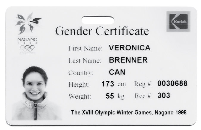 1998, Veronica Brenner | The Canadian skier's ''femininity card'' from the Nagano games, which certifies her XX chromosomes. Credit Jessica Tang for The New York Times