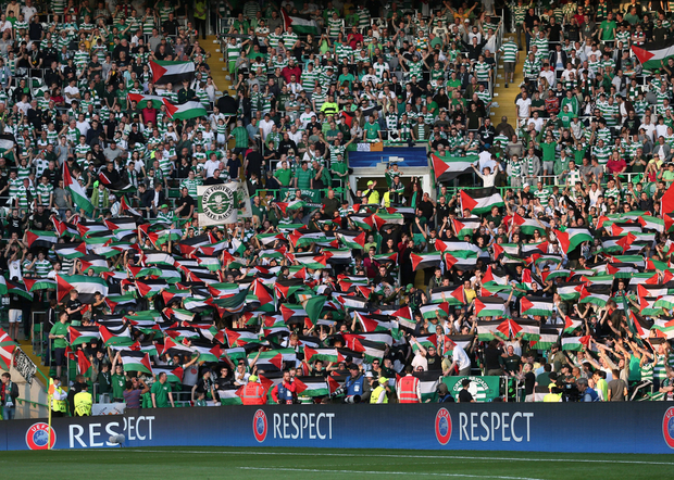 Celtic FC fans prominently displayed Palestinian flag on Wednesday during match against Israel's Hapoel Beer Sheva (Reuters)