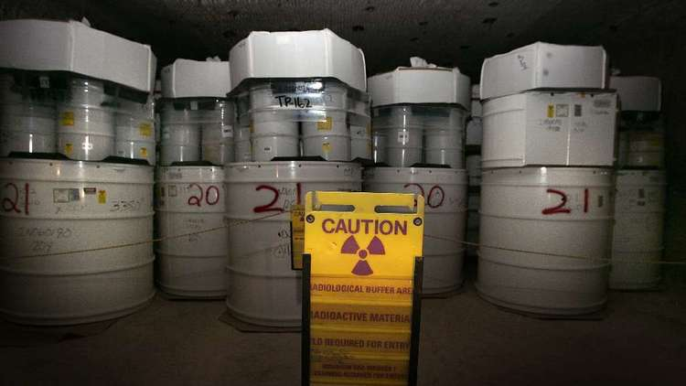 Drums of nuclear waste in a salt shaft at New Mexico's Waste Isolation Pilot Plant. (Brian van der Brug / Los Angeles Times)