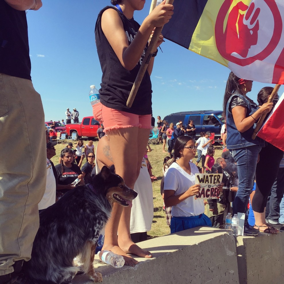 """Protesters stand at the front barricades of the protest zone, holding signs that read """"Water is sacred"""" and """"Mni Wiconi"""" (""""Water is life"""" in Lakota). Daniella Zalcman"""