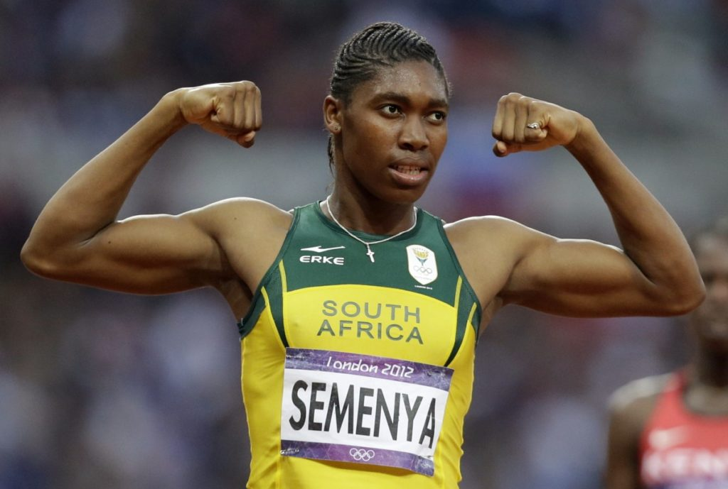 South Africa's Caster Semenya reacts after finishing in second place in the women's 800-meters final at the 2012 Summer Olympics, London. CREDIT: LEE JIN-MAN, AP