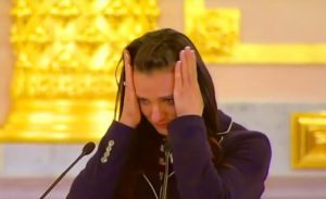 Yelena Isinbaeva crying at the Olympic farewell reception in Kremlin on July 27. The two times Olympic champion and unrivaled contender for the gold in Rio, was perfidiously banned by the IAAF despite her crystal clear doping tests record.