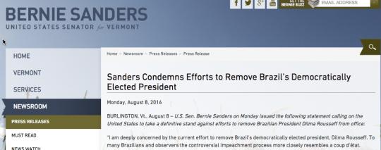 Manchete: Sanders condena tentativa de remover a Presidente democraticamente eleita do Brasil