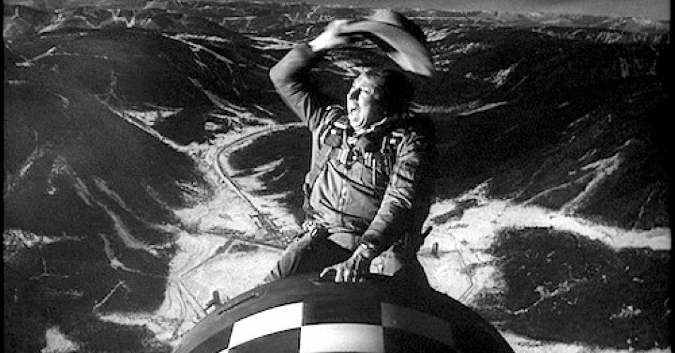 """A scene from """"Dr. Strangelove,"""" in which the bomber pilot (played by actor Slim Pickens) rides a nuclear bomb to its target in the Soviet Union. (Screenshot)"""
