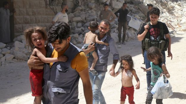 The UN says children and their families in Aleppo are facing a catastrophic situation. copyright AFP