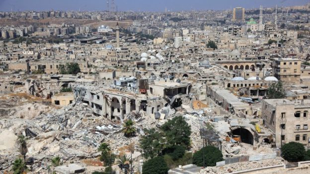 Large parts of Aleppo have been destroyed since the civil war reached the city in 2012. copyright Getty Images