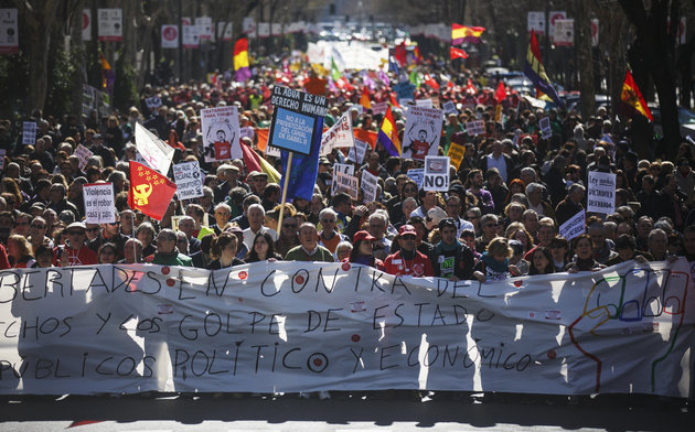 Protesters march against government austerity measures in Madrid last year. Andrea Comas/Reuters
