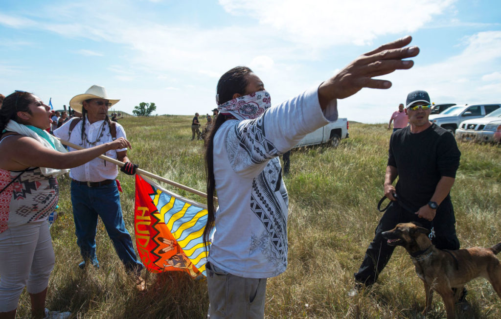 Protesters at the Standing Rock Sioux reservation, in North Dakota, on Saturday. Photograph by Robyn Beck / AFP / Getty