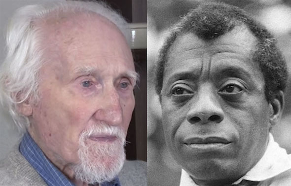 Sheldon Wolin, left, and James Baldwin. (YouTube, photo at left, and Allan Warren / CC-BY-SA)
