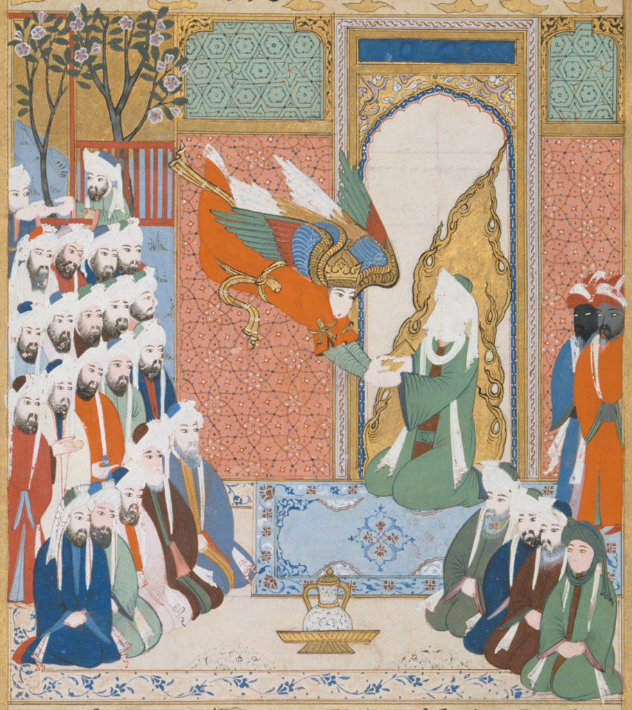 'The angel Gabriel revealing the eighth sura of the Koran to Muhammad'; illustration from the Siyar-i Nabi (Life of the Prophet), commissioned by the Ottoman sultan Murad III, 1594–1595 Musée du Louvre, Paris/RMN/Art Resource