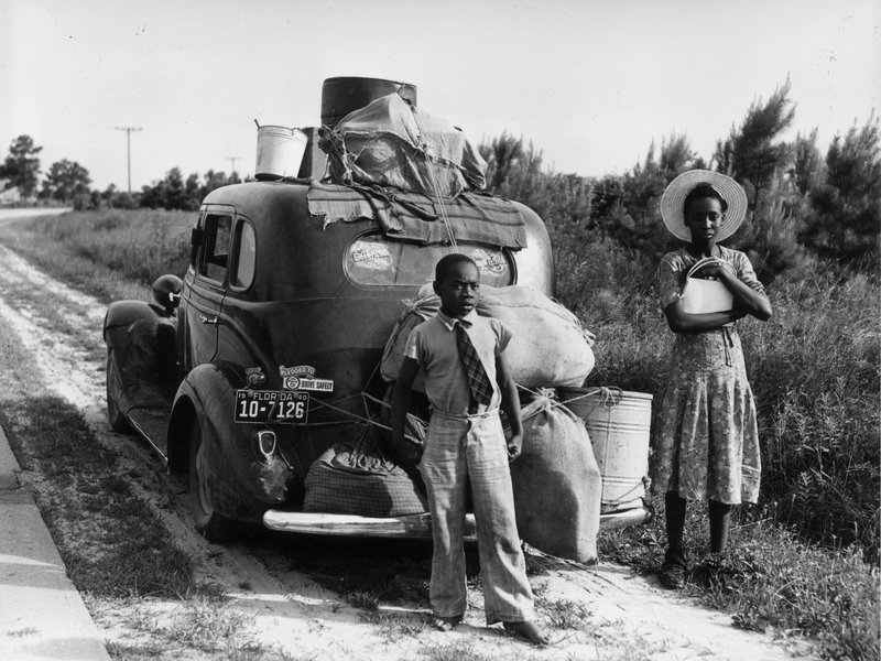 An African-American family leaves Florida for the North during the Great Depression. (MPI/Getty Images)