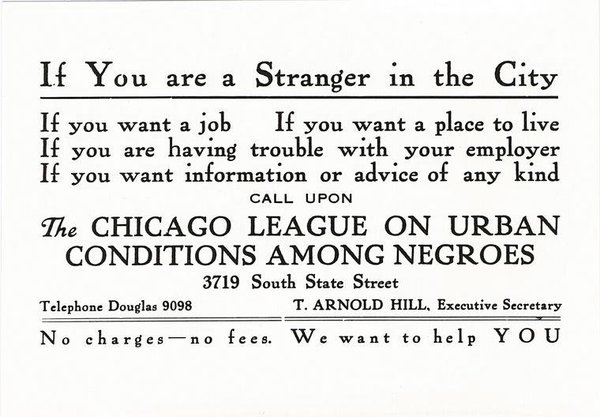 As migrants filled Northern factories, groups offering social services handed out advertising cards. (University of Illinois at Chicago, The University Library, Special Collections Department, Arthur and Graham Aldis Papers)