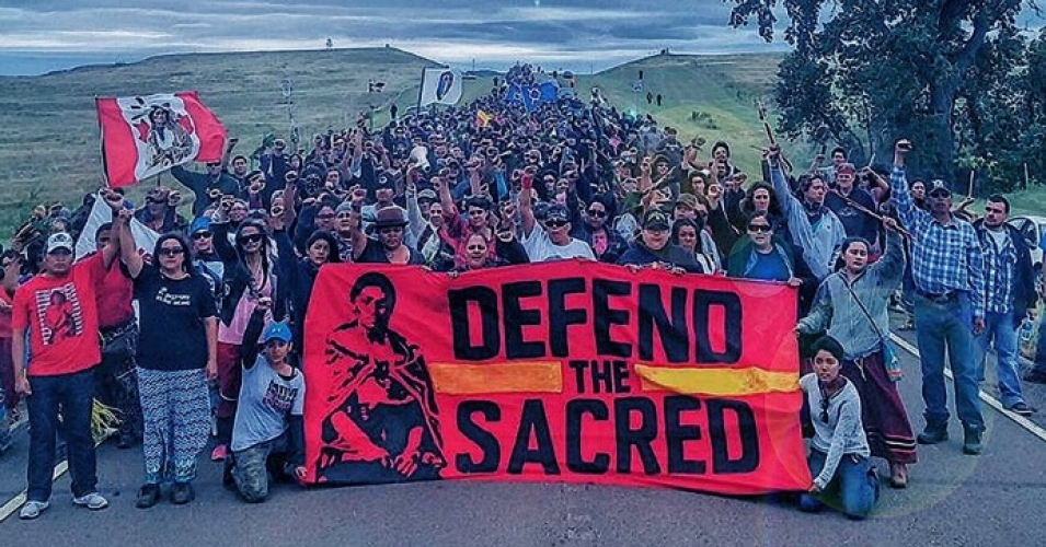 """""""The events at Standing Rock also allow Americans to realize who some of the nation's most important leaders really are,"""" writes McKibben. """"The fight for environmental sanity—against pipelines and coal ports and other fossil-fuel infrastructure—has increasingly been led by Native Americans, many of whom are in that Dakota camp today."""" (Photo: Twitpic/@350)"""