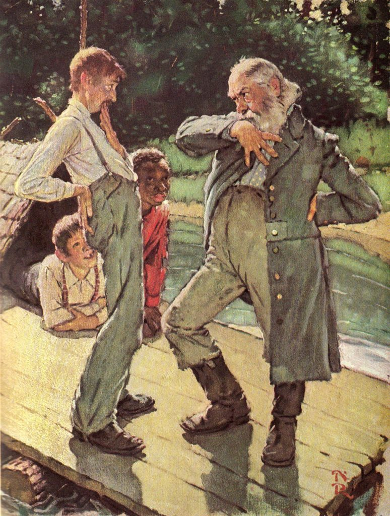 One of Norman Rockwell's rare illustrations for The Adventures of Huckleberry Finn