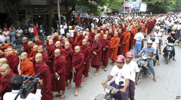 FILE - Burma Buddhist monks stage a rally to protest against ethnic minority Rohingya Muslims after sectarian violence erupted between ethnic Buddhists and Rohingya Muslims in this 2012 photo.