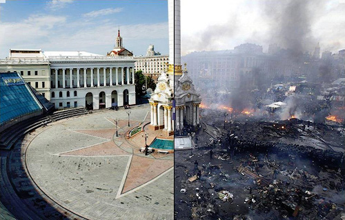 The NGOs of arch manipulator George Soros played a big part in the 2014 Ukrainian coup. Above: the Maidan in Ukraine, before and after.