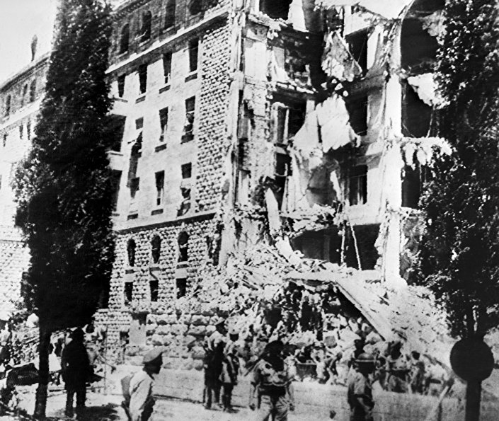 A picture taken 22 July 1946 shows the King David Hotel in Jerusalem, which housed the British Headquarters, damaged after a bombing attack against the British government by members of Irgun, a Zionist terrorist group headed by Menachem Begin. © AFP 2016/ Intercontinental