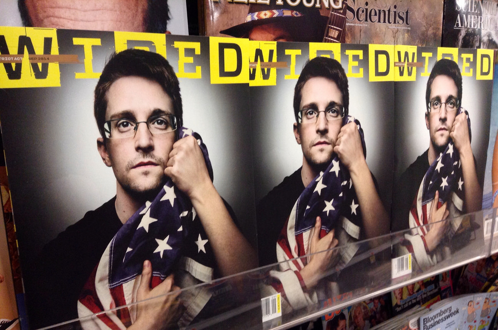A photo of Edward Snowden on the cover of Wired magazine. Photo: Mike Mozart/Flickr