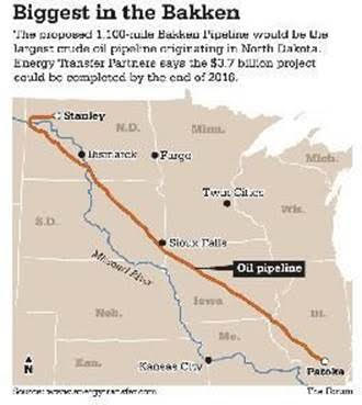 The proposed 1,100 mile Bakken Pipeline would be the largest crude oil pipeline originating in North Dakota.  Energy Transfer Partners says the $3.7 billion project could be completed by the end of 2016.