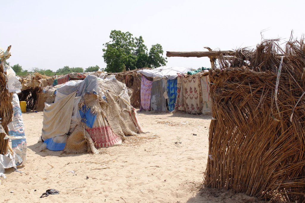 People fleeing Boko Haram construct make-shift shelters in Monguno, Borno State, Nigeria. They need food, water and health services.  Photo: UN OCHA Nigeria