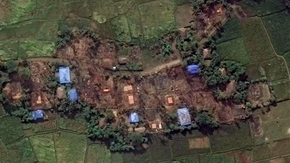A satellite image from Nov. 10 shows a Muslim village burned down in an arson spree allegedly committed by Myanmar's army. According to Human Rights Watch, at least 400 buildings in Muslim-majority parts of Myanmar have been destroyed. Credit: Human Rights Watch/Courtesy