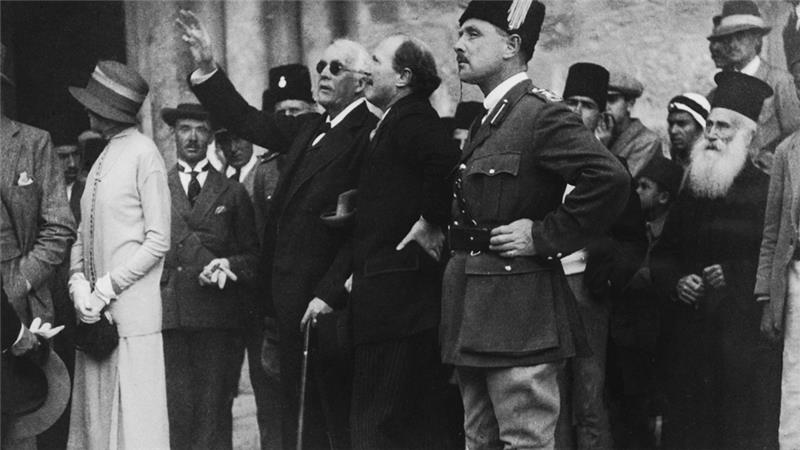 British politician Lord Arthur Balfour points out a feature of the Church of the Holy Sepulchre to Governor Sir Ronald Storrs during a visit to Jerusalem, April 1925 [Getty]