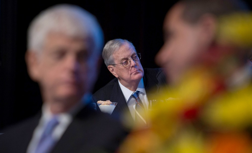 David Koch, executive vice president of chemical technology for Koch Industries, listens as U.S. Federal Reserve Chairman Ben Bernanke, not pictured, speaks to the Economic Club of New York on Nov. 20, 2012. Photo: Scott Eells/Bloomberg/Getty Images