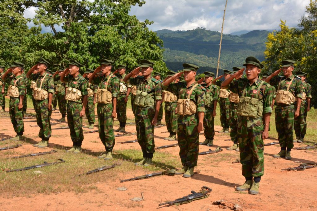 Kachin Independence Army (KIA) cadets follow drills at a training school in Laiza, on the Burma-China border. Paul Vrieze