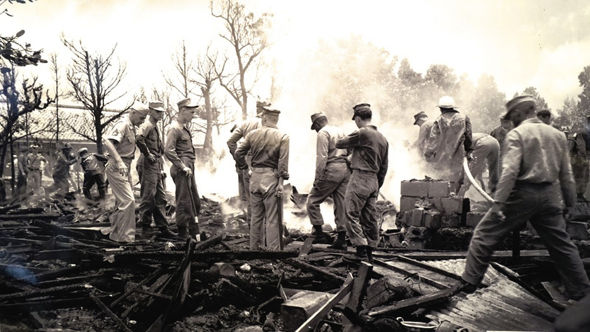 In 1959 a US fighter plane crashed into Miyamori School, Okinawa, killing a number of children.