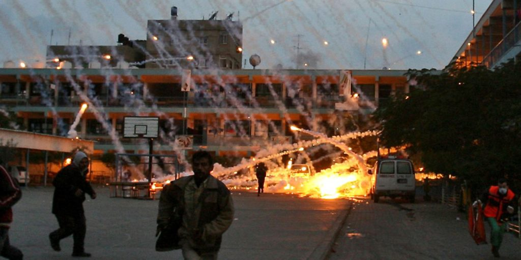 Israel targets a UN-run school in Beit Lahiya with white phosphorous munitions during 'Operation Cast Lead', January 17, 2009 (Iyad El-Baba/UNRWA)