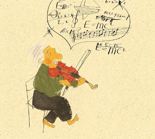 Illustration by Vladimir Radunsky for On a Beam of Light: A Story of Albert Einstein by Jennifer Berne